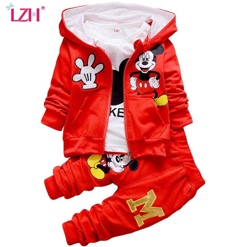 LZH Children Clothes 2017 Winter Boys Clothes Set Kids Girls Clothes Coat Pant 3Pcs Girls Sport