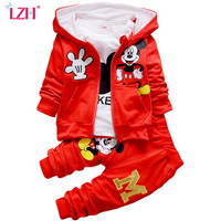 2016 New Kids Boys Clothing Set Autumn Winter 3 Piece Sets Hooded Coat Suit Baby Girls