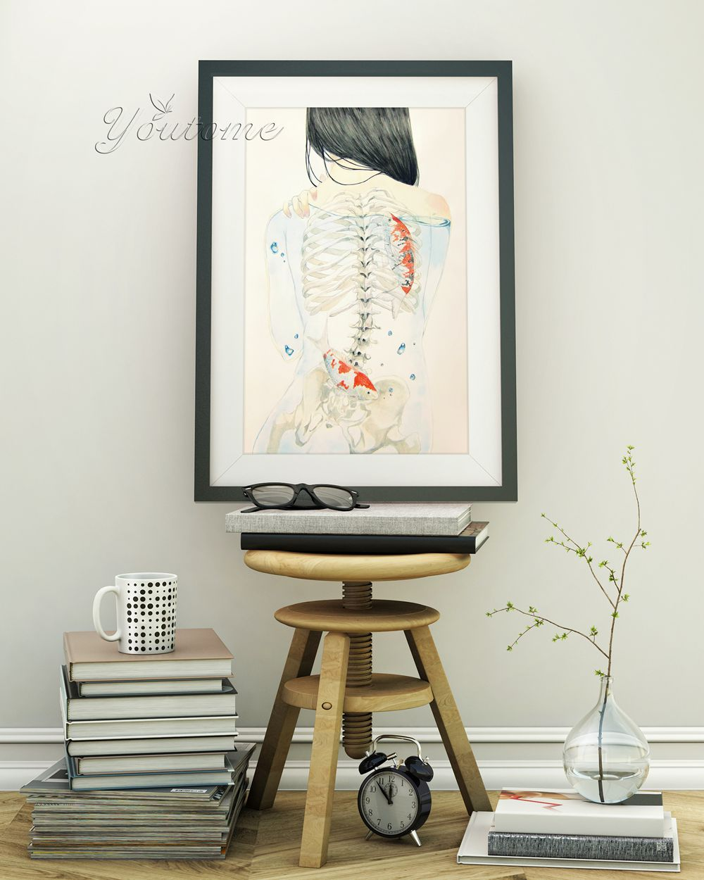 Tatooed Girl Watercolor Modern Poster Prints Hipster Fish Japanese Picture Big Canvas Painting Cafe Bar Wall Art Home Decor Gift