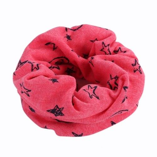 Детский Теплый хлопковый шарф-труба для мальчиков и девочек, шарф-шаль с круглым вырезом, шейный платок с рисунком улыбающегося лица и звезды - Цвет: R73-6