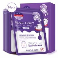 Bingju 10 Pieces Pearl Light Brighting Mask Cleaning Mask Smooth Moisturizing Firming Skin Care Whitening Beauty