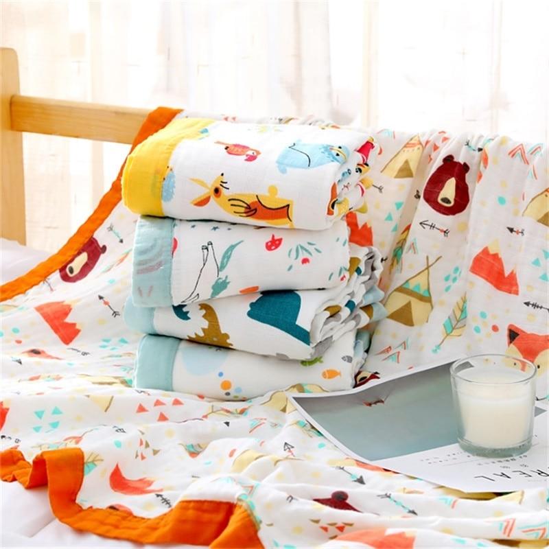 4 Layers Bamboo Fiber Super Soft Muslin Blanket Dinosaur Fox Baby Swaddle Wrap Stroller Cover Bath Towel Baby Receiving Blanket