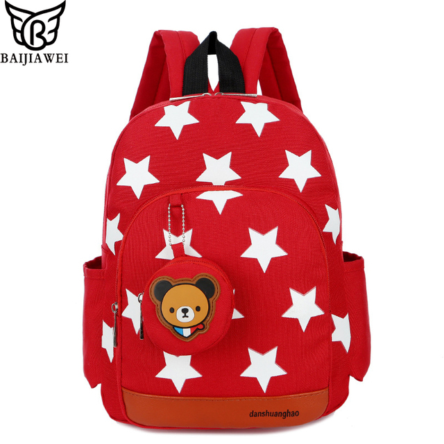 Baijiawei Kindergarten Backpacks Stars Printing Nylon Children 3 5 Years Old Kids School Bags