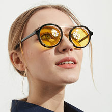 8f56b4b0f656a Elegante Rodada Óculos De Sol Das Mulheres Do Punk Óculos Limpar Lente  Transparente Amarelo Óculos de Sol Do Vintage Homens Marc.