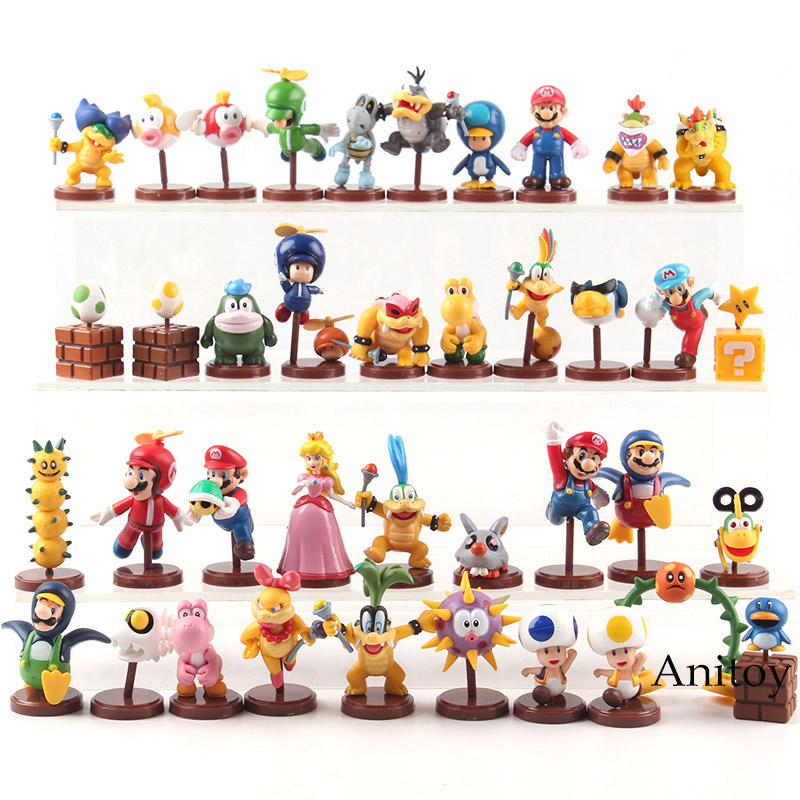 Furuta Super Mario Bros Action Figures Mario Luigi Peach Toad Bowser JR Wendy Iggy Lemmy PVC Collectible Model Toy 13pcs/set super mario bros bowser princess peach yoshi luigi toad goomba pvc action figure toy model