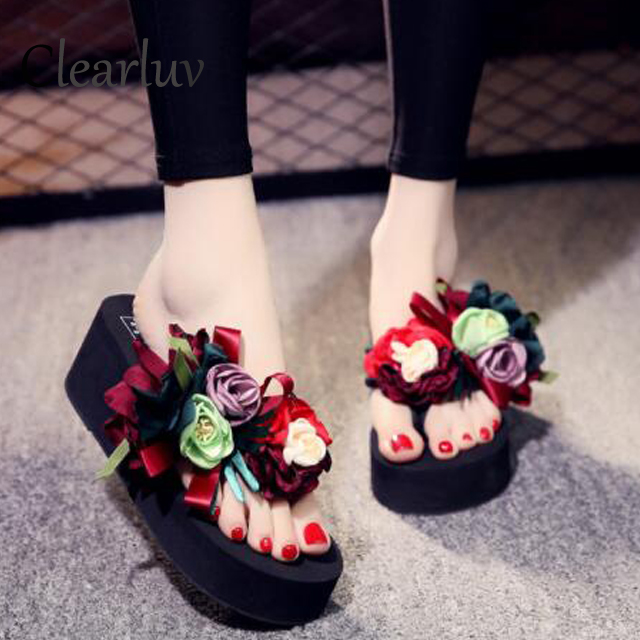 New-Loft-women flat platform sandals shoes Slippers Suede Leather Platform Flipflops Wedges Slippers Black White C65