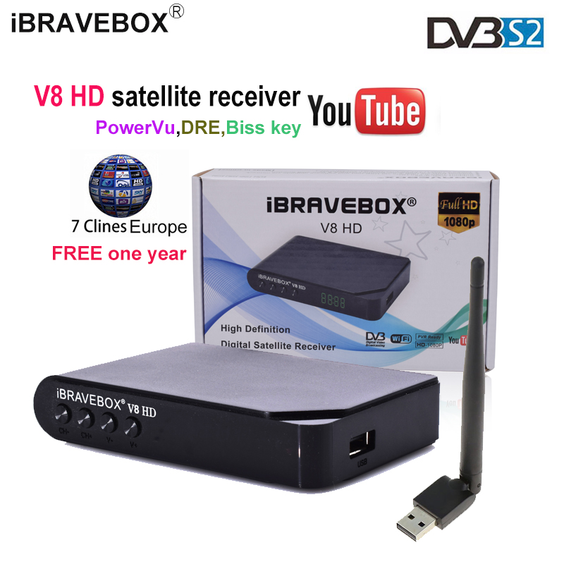 iBRAVEBOX V8 HD Satellite tv receiver 1080P Full HD DVB-S2 Standard 7lines  cccam one year Support PowerVu,DRE&Biss key YouTube