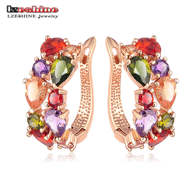 LZESHINE Top Sale New Flower Earrings Rose Gold Color Multicolor Cubic Zircon Stud Earrings for Women Bijoux Brinco CER0143
