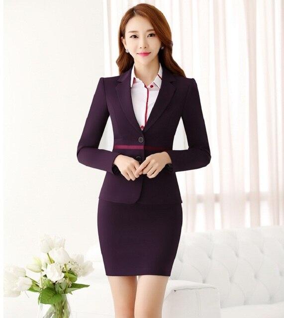 Estilos de Moda de nova OL Novidade Roxo Ternos Saia Para O Office Ladies Outono Inverno Com Casacos E Blazers Saia Profissional