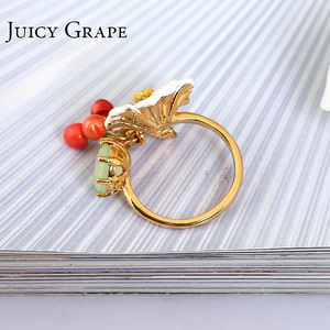 Image 3 - יקירי אמייל זיגוג לבן דייזי פרח קריסטל דובדבן הפתח טבעת יכולה להתאים