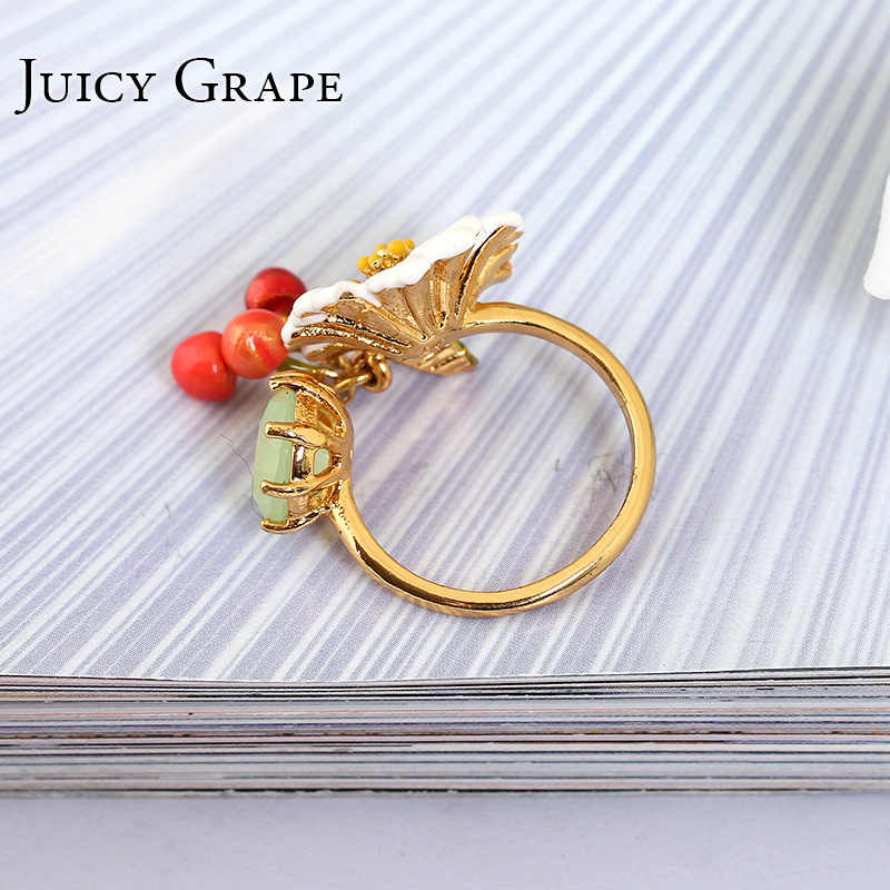 Juicy Grape Hand Painted Enamel Glaze Gilded Ring Women White daisy Flower Zircon Cherry Opening Adjustable Ring Fashion Jewelry