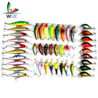 43pcs Mixed Fly Fishing Lure Set Minnow Crank Bait Bass Baits High Carbon Steel Treble Hook Wobblers Set Feeder Fishing Tackle