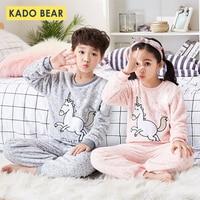 Boys Girls Flannel Winter Sleepwear Kids Cartoon Unicorn Warm Pajamas Set Children Coral Fleece Unisex Pyjamas Baby Soft Pijamas