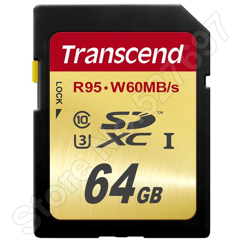 Prix pour 95 MB/s Transcend R-95M/s W-60M/s 64 GB SD Carte SDXC SDXC UHS-I U3 Classe 10 Carte Mémoire Pour Canon Nikon Caméra Full HD 3D 4 K Vidéo