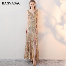 BANVASAC 2018 Lace V Neck Sequined Split Mermaid Long Evening Dresses Elegant Party Metal Sash Backless Prom Gowns