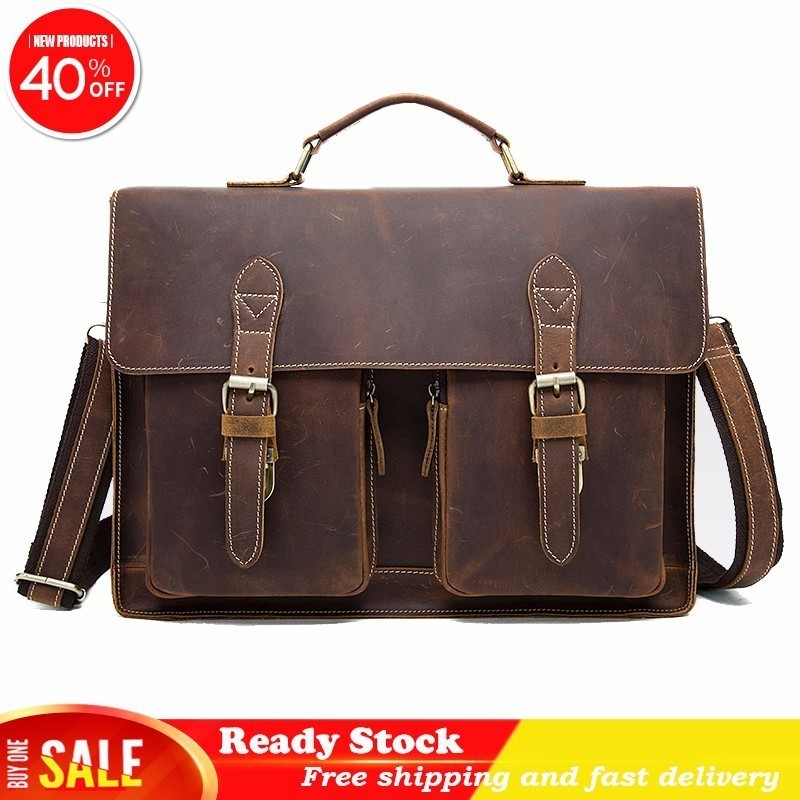 Crazy Horse Bag Men's Genuine Leather Briefcase Male Totes Messenger Bags Business Laptop Bag For Men High Quality Free Shipping