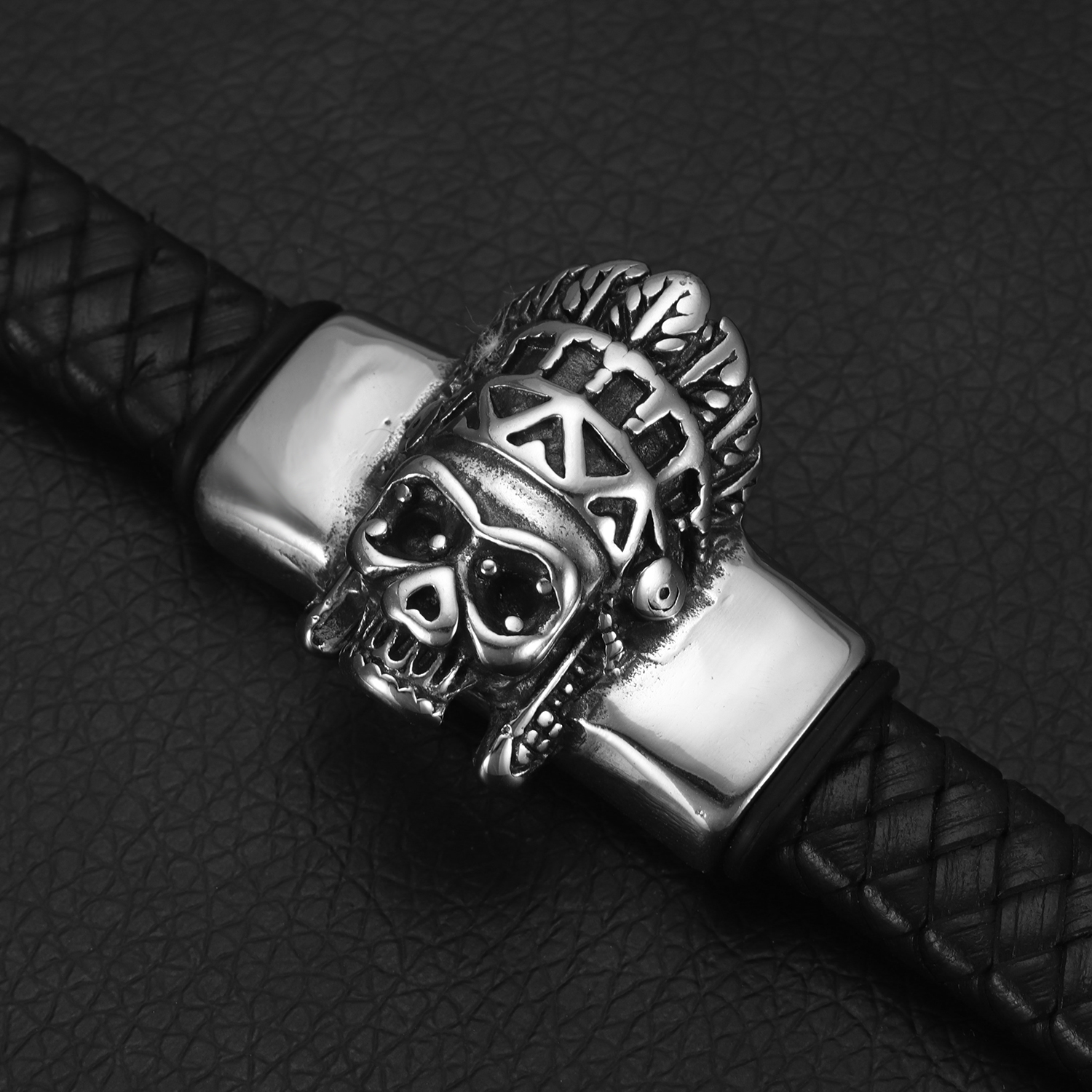 Stainless Steel Slider Beads Punk Skull Chief 12 6mm Hole Slide Charms for Men Leather Bracelet Jewelry Making DIY Supplies in Beads from Jewelry Accessories