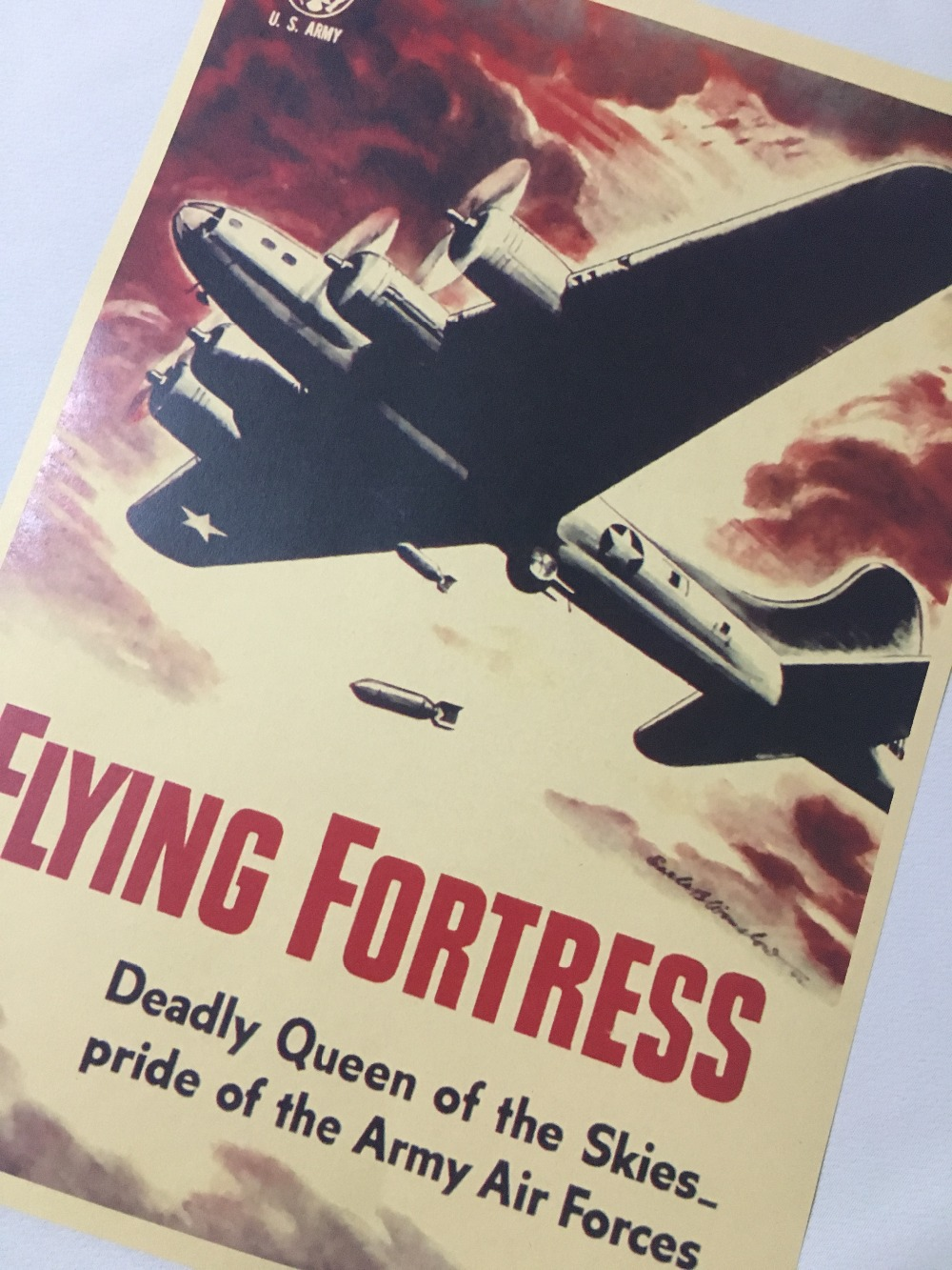 Art Print US Army Air Force Flying Fortress Print Art Poster Vintage Retro Decorative Wall Canvas Stickers Posters Bar Home Deco