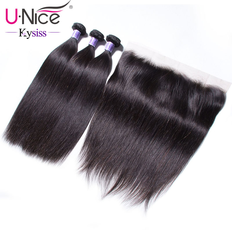 UNice Hair 8A Kysiss Series 3 Bundles With Frontal Indian Straight Bundles Lace Front Human Virgin Hair Bundles With Closure