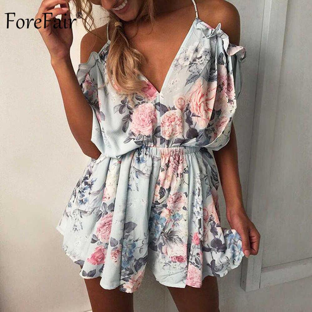 8106f1fd4fa ForeFair Summer Sexy V-neck Off the Shoulder Ruffles Bodysuit Open Back Women  Romper Loose