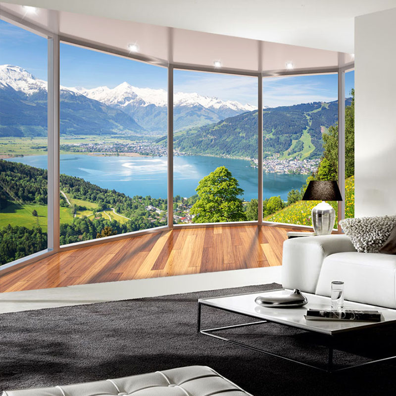 Custom Photo Wallpaper 3D Balcony Forest Lake Space Wall