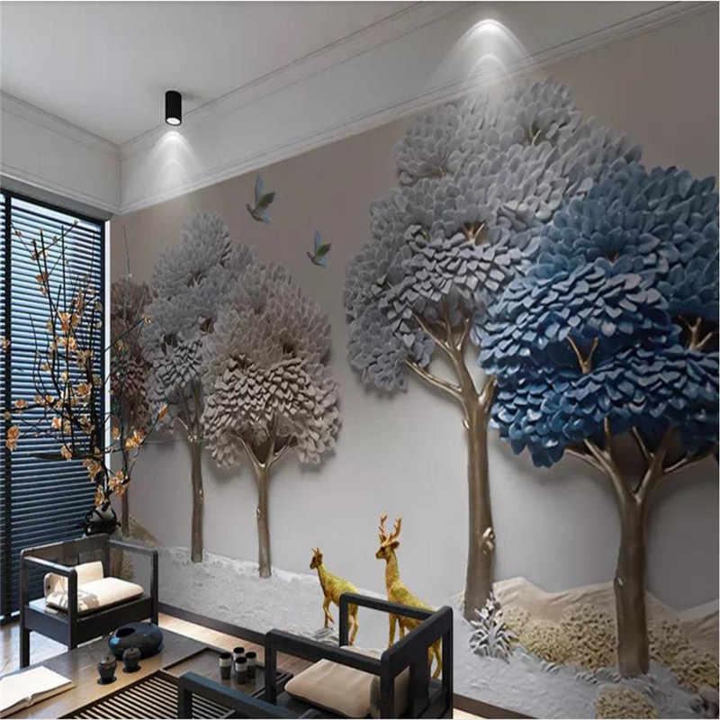 Papier peint 3D personnalisé | Gaufré en trois dimensions, décoration murale de fond d'arbre de fortune de wapiti, matériel étanche