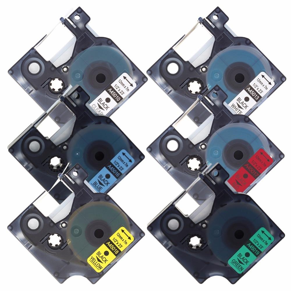 Color printing label maker - Hot Sale 6pcs Lot 12mm Mixed Color Dymo 45013 45010 45016 45018 45017 45019 Ribbon Label Maker Dymo D1 Tape