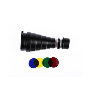 Image 2 - CY SN02 Metal Conical Snoot with Honeycomb Grid 5pcs Color Filter Kit for Bowens Mount Studio Strobe Monolight Photography Flash