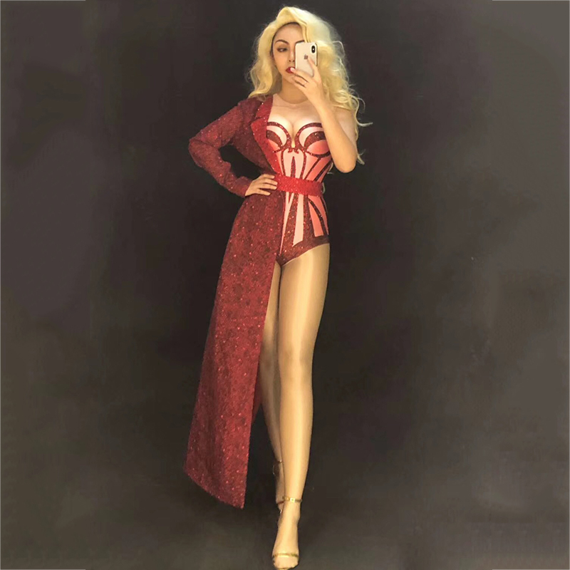Red Stretch Bodysuit Two Pieces Costume Stage Dance Wear Leotard Half Side Long Coat Performance Suit Women Sexy Jumpsuit DT504
