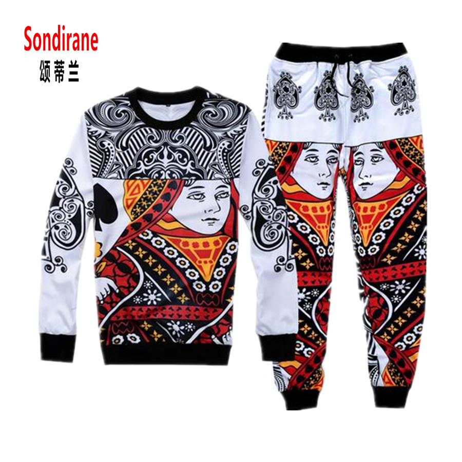 Sondirane New Fashion 3D Print Poker Face Queen Graphic Tracksuit Funny Jogger Pants&Sweatshirts Casual Suits Sweatpants Sets