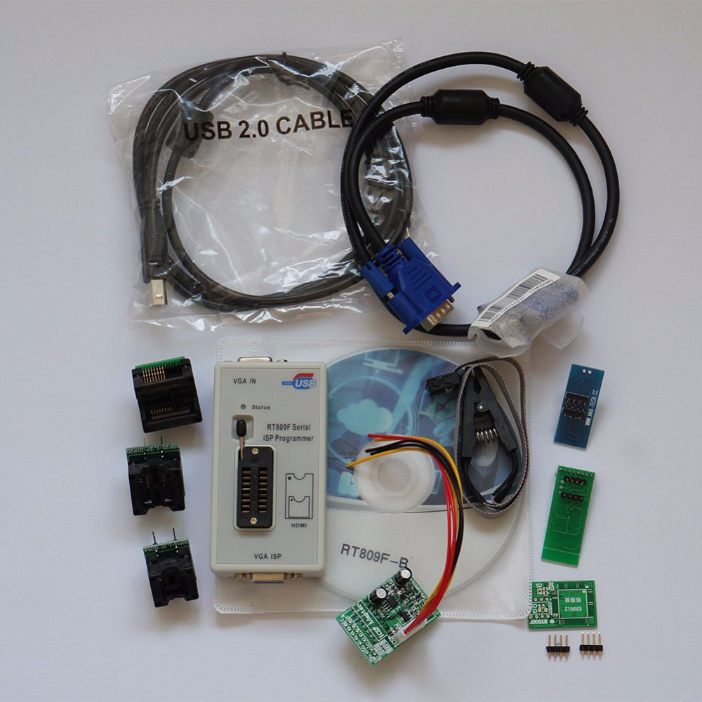 RT809F USB PC Repair Tools Programmer +7 Adapters+SOP16 SOP20 IC Clip LCD Reader LCD BIOS ISP/ USB/ VGA mc14049ubdr2g sop16
