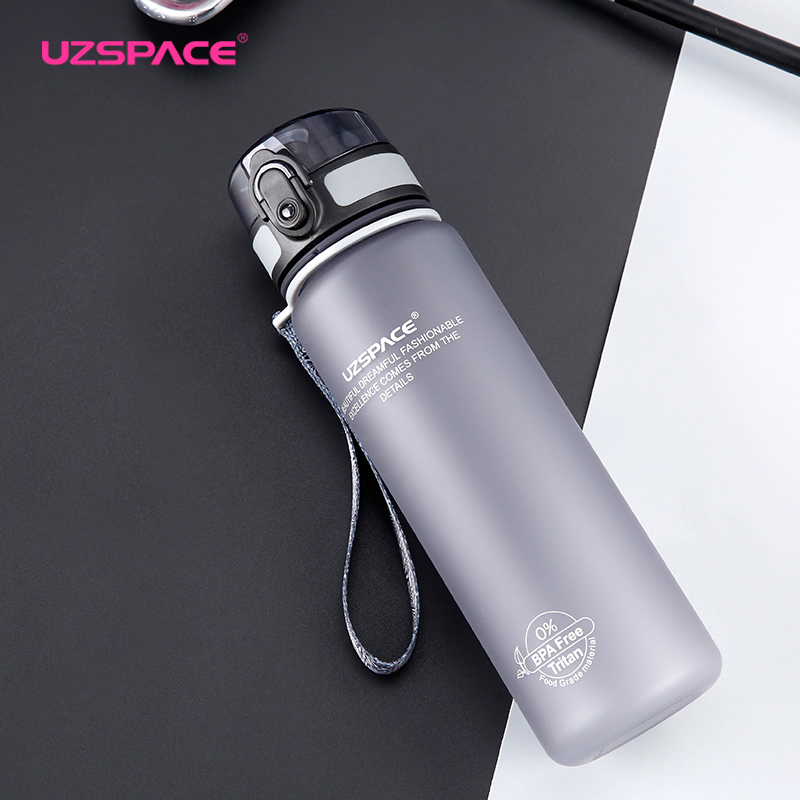 Uzspace Sports Water Bottles Tritan Plastic Drinkware Shaker Camping Hiking Fruit Infuser My Drink Bottle 500ml 1000ml BPA free