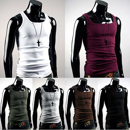 Men's Casual Sleeveless Square Neck Exercise Muscle Slim Vest   Top   smt 87