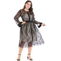 Plus Size Women Sheer Mesh Floral Lace Dress Rhinestone Long Sleeve Elegant Ladies Evening Party Black Oversize Dress for Women