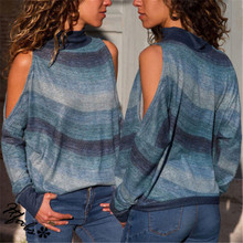 Causal Cotton Women Striped Turtle Neck Long Sleeve Casual Loose Pullover Shirt Blouse