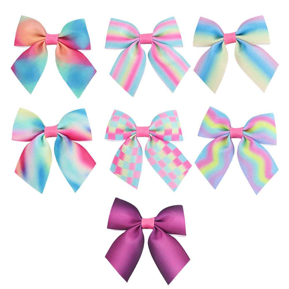 6Pcs/lot 3Inch Mini Rainbows Hairpin for Girls Grosgrain Ribbon Barrettes Children Hair Accessories with Clip Headwear 5 6pcs lot headwear set children accessories ribbon bow hair clip hairpin rabbit ears for girls princess star headdress t2
