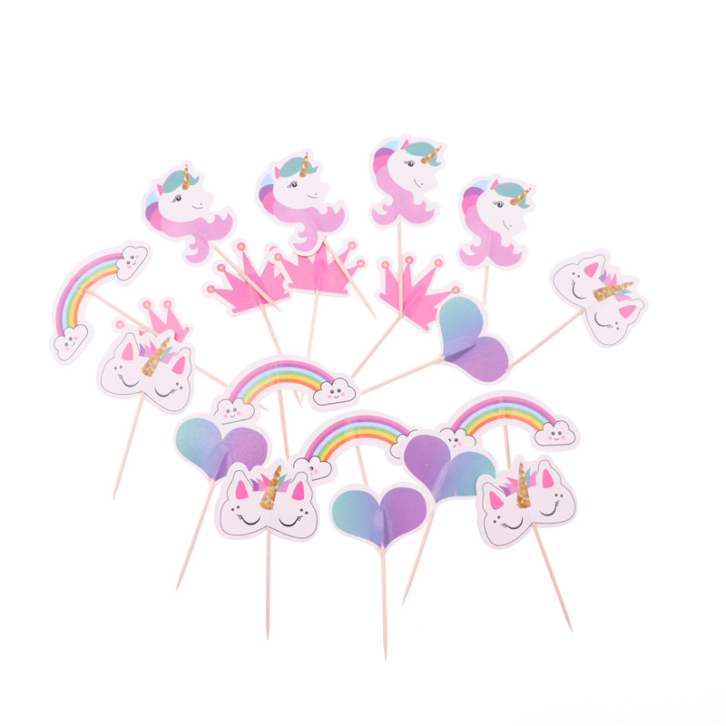 24Pcs Cartoon Unicorn Theme Cupcake Topper Cake Decoration Birthday Party Decorations Kids Girl Baby Shower Party Supplies