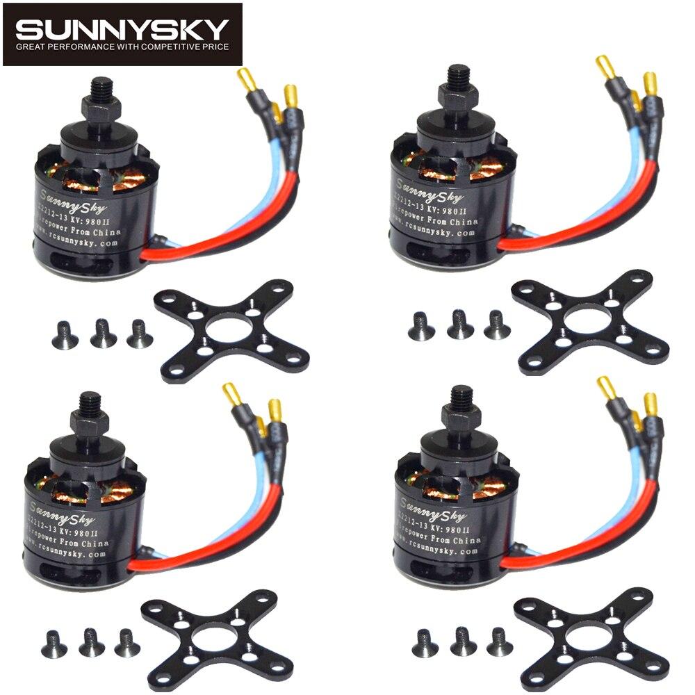 4 unids/lote 100% Original SUNNYSKY X2212 980KV/1250KV/KV1400/2450KV Motor sin escobillas (eje corto) Quad-Hexa helicóptero