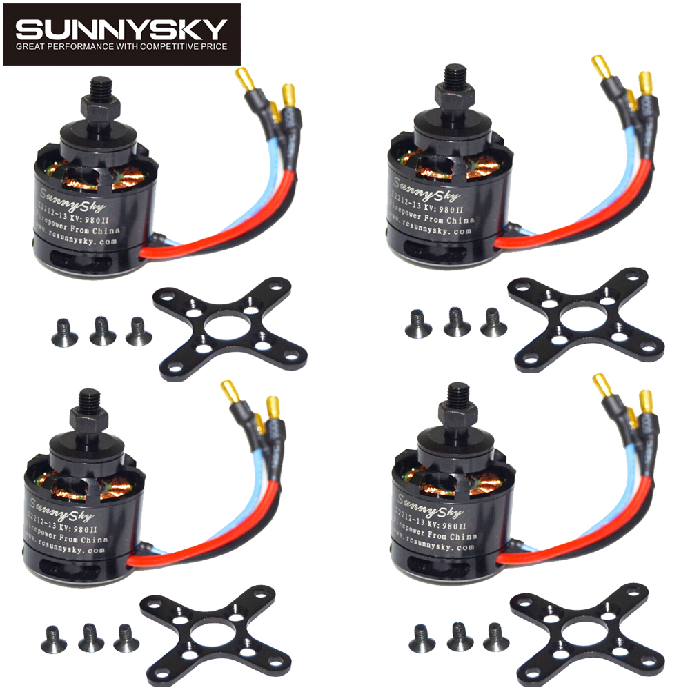 4 unids/lote 100% original sunnysky x2212 980kv/1250kv/kv1400/2450kv sin escobillas Motores (eje corto) quad-hexa helicóptero