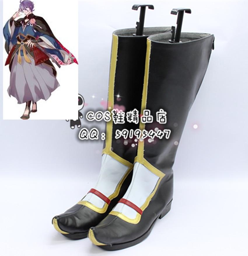 Touken Ranbu Kasen Kanesada Black Long Cosplay Shoes Boots X002