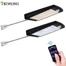 אורות שמש חיצוני 48 LED קיר שמש Motion חיישן אור עם מרחוק בקר אלחוטי אבטחה עמיד למים מנורת קיר
