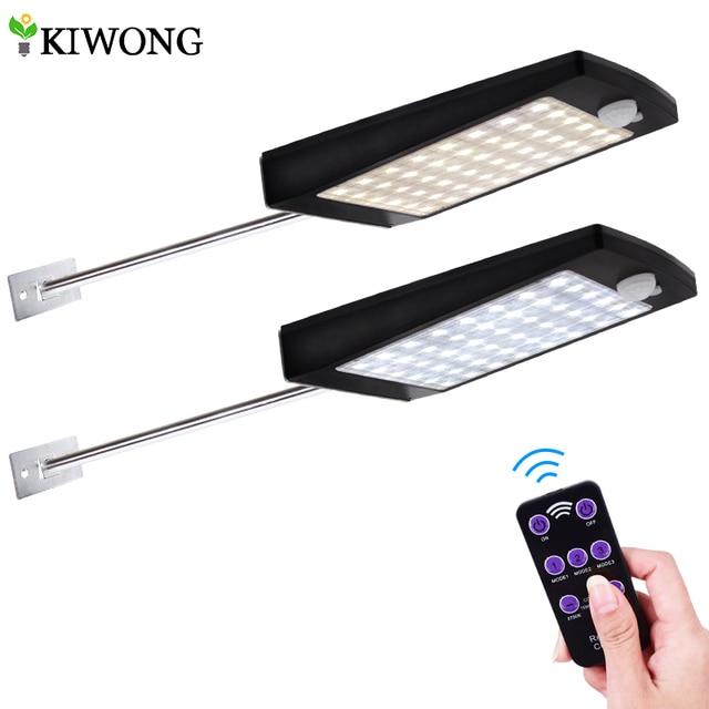 태양 광 조명 원격 컨트롤러와 야외 48 LED 벽 태양 모션 센서 빛 벽에 대 한 무선 방수 보안 램프