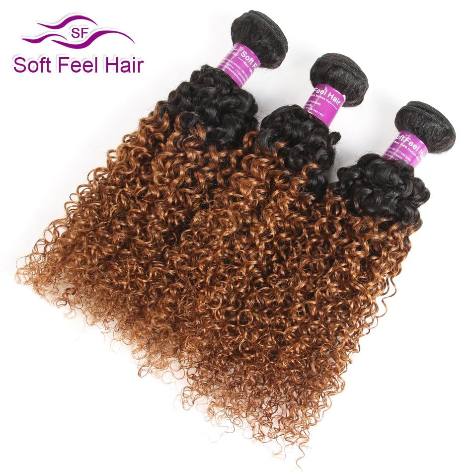 Soft Feel Hair 1B 30 Ombre Malaysian Kinky Curly Hair Bundles Brown Weave Ombre Human Hair