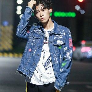 Image 4 - Hip Hop Mode Gedruckt Jeans Jacke Männer Baumwolle Casual Streetwear Kurze Stil Denim Jacke Mantel Für Männer Frühjahr Neue Frauen jacken