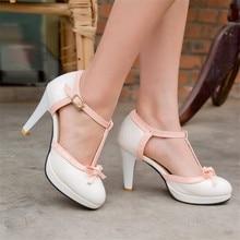 Zapatos de tacón grande 33-43 para mujer, agradable pajarita, zapatos gruesos vintage de tacón alto para fiesta, boda, baile de graduación, calzado para niñas