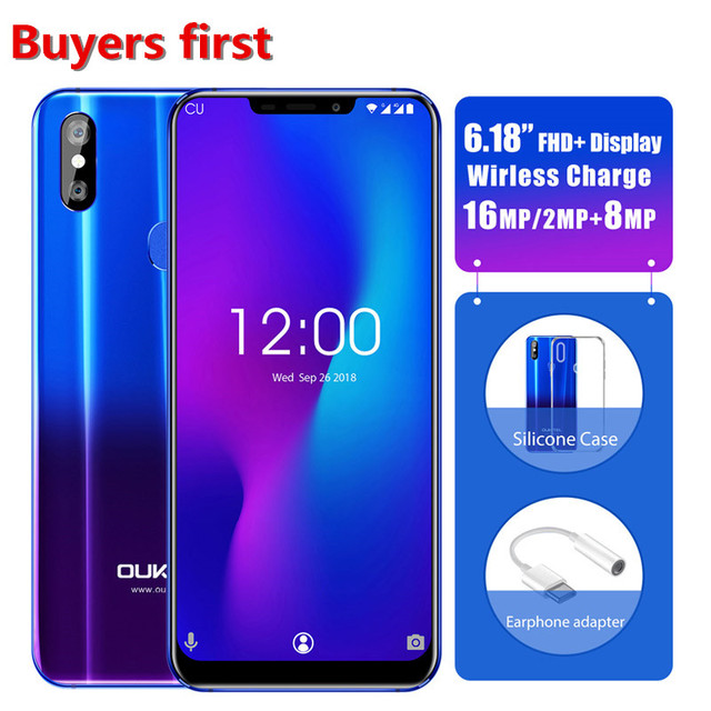 "OUKITEL U23 6.18"" Notch Display Mobile Phone 6G 64G Wireless Charge Android 8.1 MTK6763T Helio P23 Octa Core Face ID Smartphone"