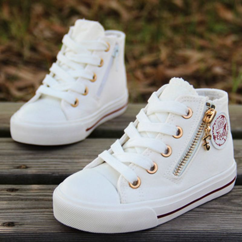 Boys Canvas Shoes Solid Color Zipper High Top Kid Sneakers Ankle High All Match White Casual Shoes Skateboard Shoees 24-37