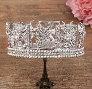 Image 2 - Lüks gelin kraliçe Elizabeth taç avrupa barok taç Headdress düğün saç aksesuarları güzellik saç klipleri kraliyet taçlar