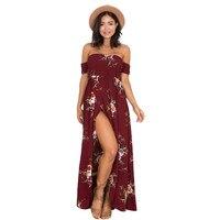 Off The Shoulder Strapless Bohemian Long Maxi Dress Women Summer Beach Dress 2017 Casual Print Flower