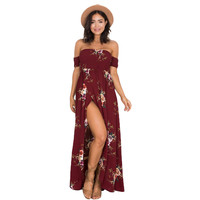 Off the Shoulder Strapless Bohemian Long Maxi Dress Women Summer Beach Dress 2017 Casual Print Flower Floral Ladies Dresses